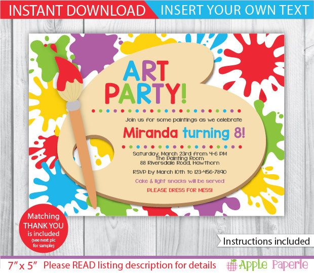 29 Awesome Party Invitation Template App Collection Art Party Invitations Paint Party Invitations Party Invite Template