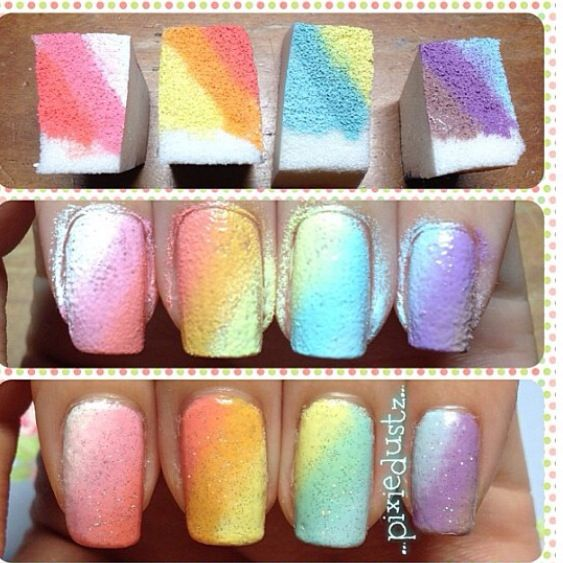 Sponge nail art - tutorial on how to do ombré nails