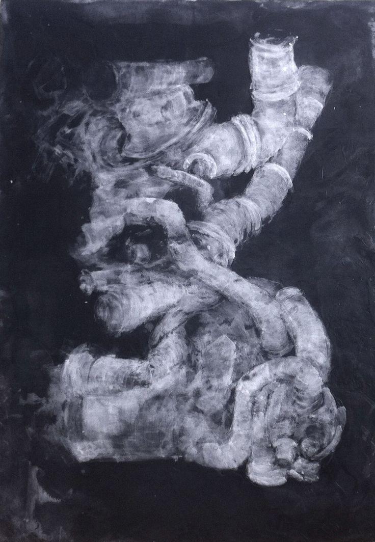 nos corps machine : dessin à la paraffine sur panneau bois fond noir réalisé par Isabelle Bonté-Hessed2