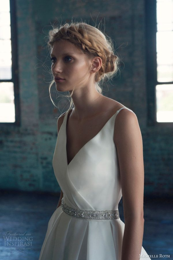 michelle roth wedding dresses 2014 bridal rhoda sleeveless ball gown close up bodice embellished sash