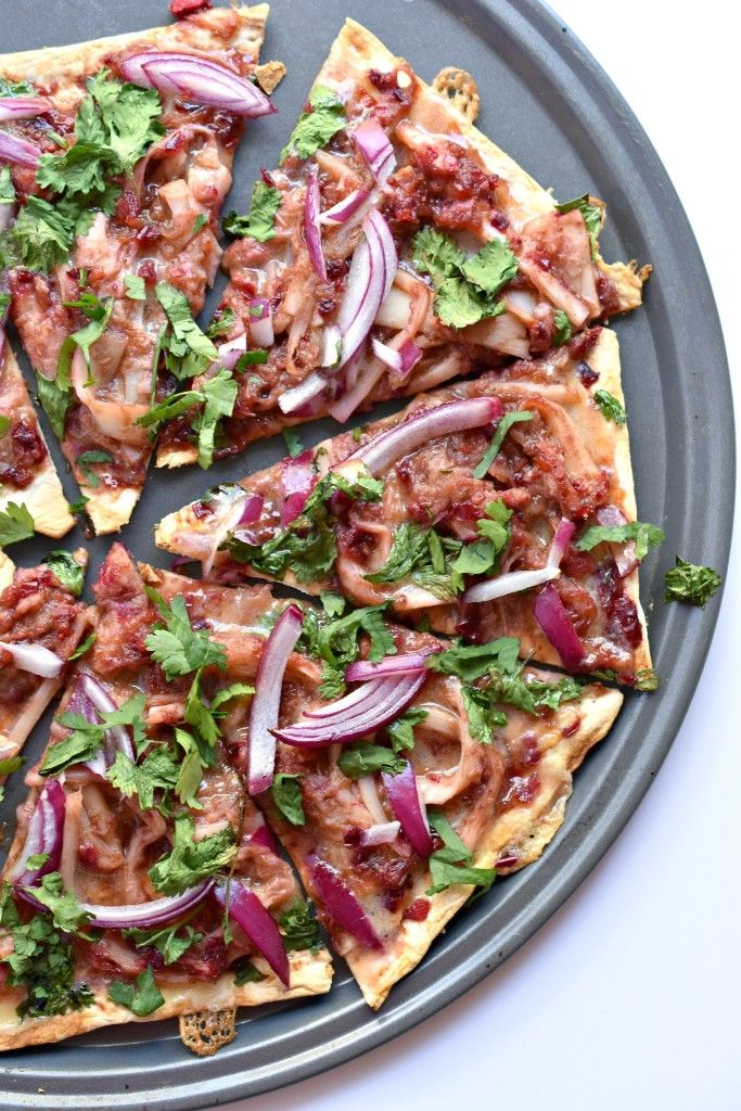 Cranberry BBQ Pizza made with shredded hearts of palm and Flatout pizza bread