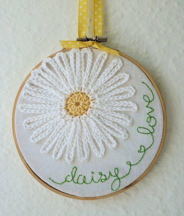 'Daisy Love' Embroidery and Appliqué Hoop Art £12.00