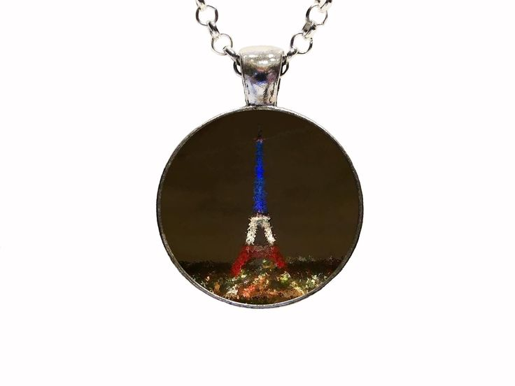 Digital Art Places Paris Pendant Necklace Or Keychain Eiffel Tower Europe France Travel Honeymoon. With this listing you will receive a glass dome pendant and necklace with lobster clasp in organza bag shipped via U.S. mail with tracking number. Package is ready for gift giving. Matching key chains are also available with this design. For key chain choice select your pendant choice and then under necklace options you will select key chain. Four Pendant Choices Available: ANTIQUE SILVER...