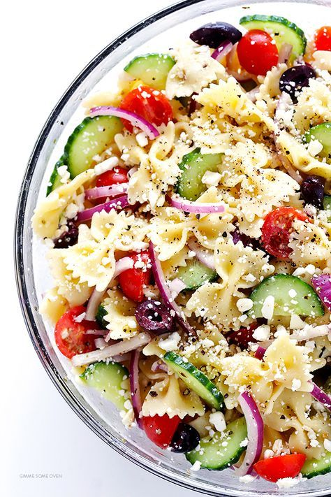 Mediterranean Pasta Salad -- quick and easy to make, and tossed with a tasty lemon-herb vinaigrette   http://gimmesomeoven.com