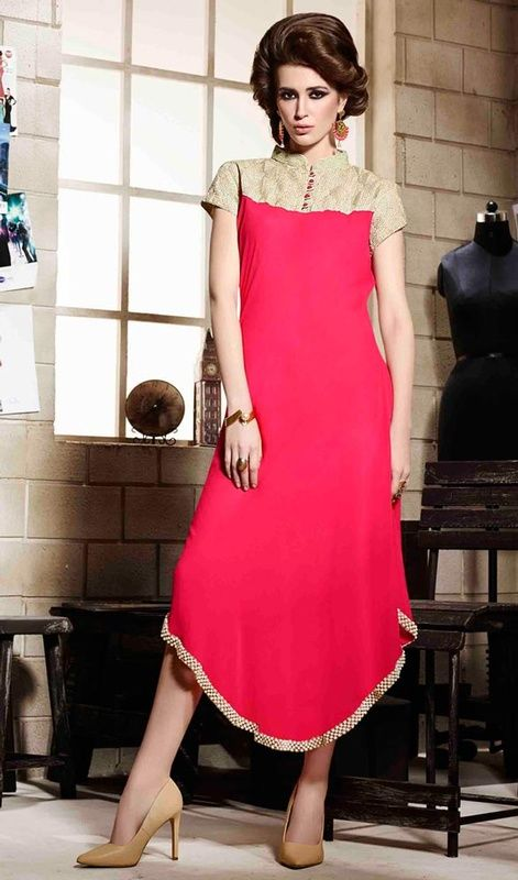 Be the centre of attraction dressed in this pink and cream color georgette kurti. It's uniquely crafted with bead, lace and resham work. #creamtunic #tunic #longtunic