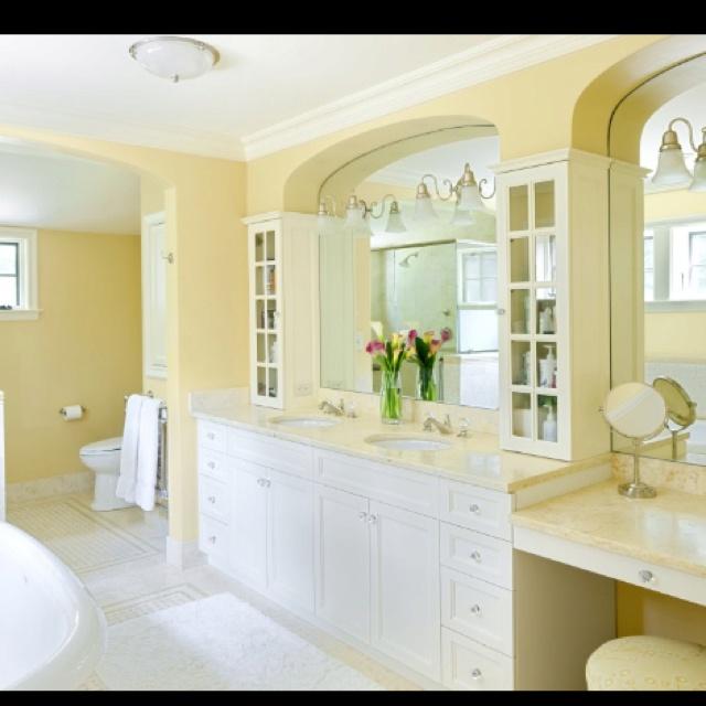 Creamy yellow bathroom bathroom pinterest yellow for Yellow bathroom ideas pinterest