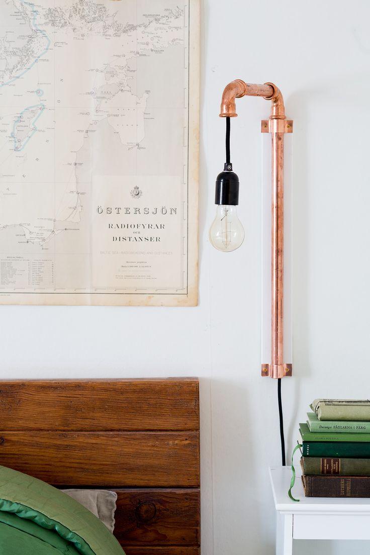 DIY-Detaljer |   Vägglampa av kopparrör