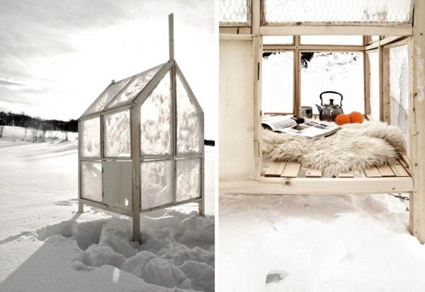 A Mobile Ice Fishing Hut With Walls Of Ice By
