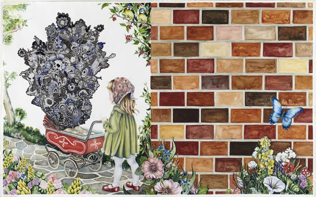 """Julie Nord (DK): """"No Title (The Doll's Carriage)"""" 115 x185 cm. Watercolor and felt-pen on paper"""