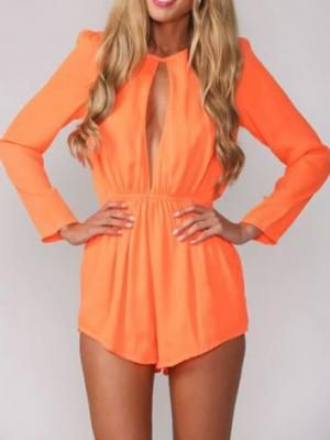 Orange Cut Out Romper Playsuit with Long Sleeves - Choies.com