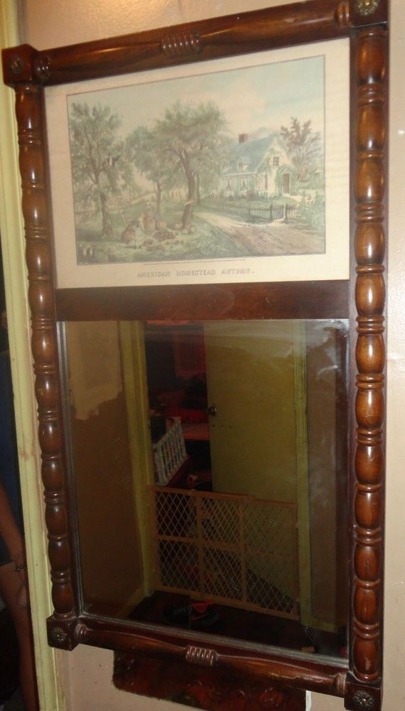 Currier & Ives  Hall Mirror with Lithograph by Cornwall Wood Products