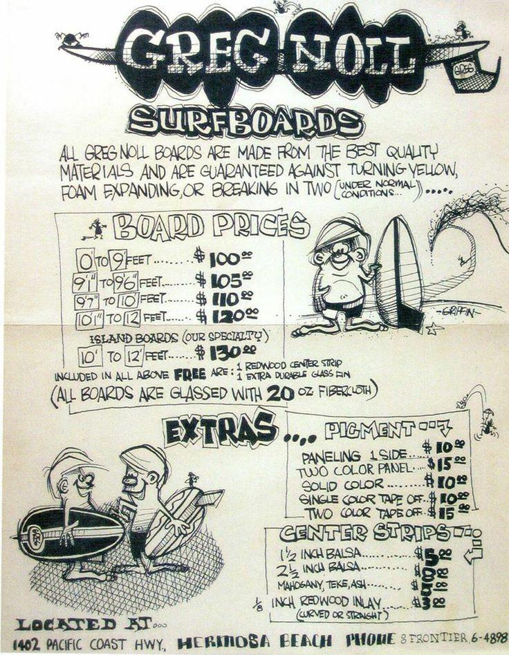 Old Greg Noll surfboards price list.