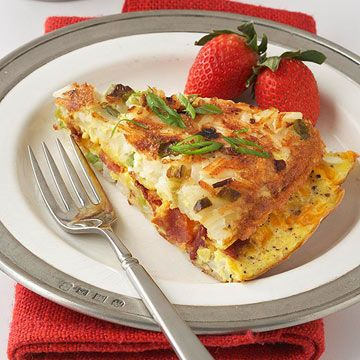 Hash browns can always be counted on to add heartiness to egg breakfast recipes. Here, they double as a crisp crust for this irresistible breakfast quiche.