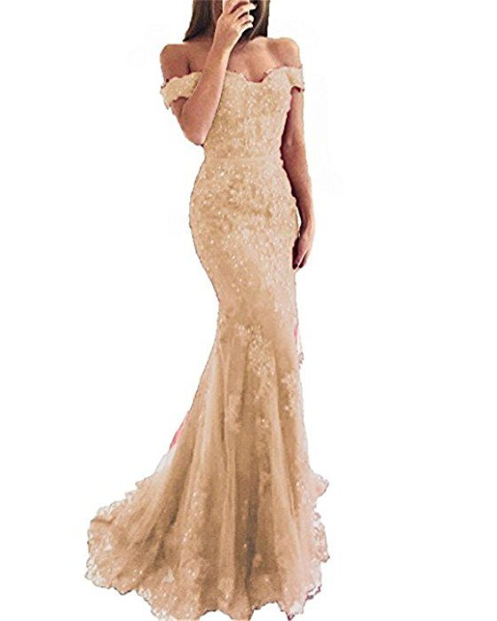 545e413370e Amazon.com  YSMei Lace Mermaid Tulle Prom Dresses Off Shoulder Long Beaded  Formal Party Gown Champagne 04  Clothing
