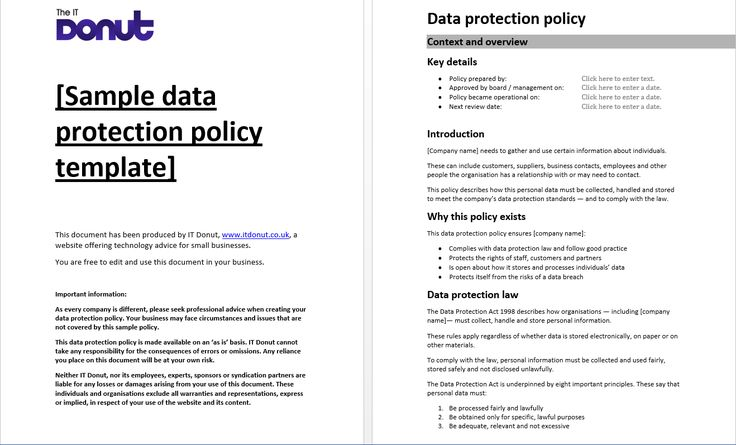 Sample Data Protection Policy Template Data Map Policy Template Employee Handbook Template