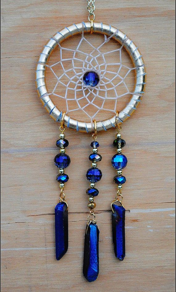 Gold and Blue Dreamcatcher Necklace by VillageDreams on Etsy