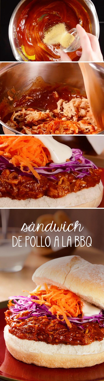 Sándwich con Pollo BBQ desmenuzado perfecto para un fin de semana con los amigos o una parrillada.