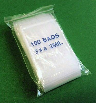 "100 3""x4"" ZIP LOCK Bags Clear 2MIL Poly BAG RECLOSABLE 100 Plastic SMALL Baggies"