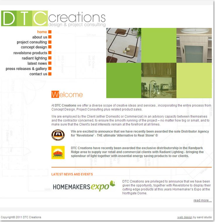 Interior and Exterior website design for DTC Creations - design & project consulting