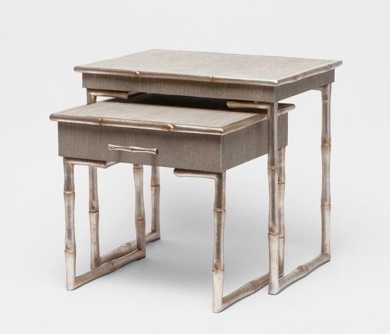 MADE GOODS   Ivy Nesting Table   Gray Silver Bamboo