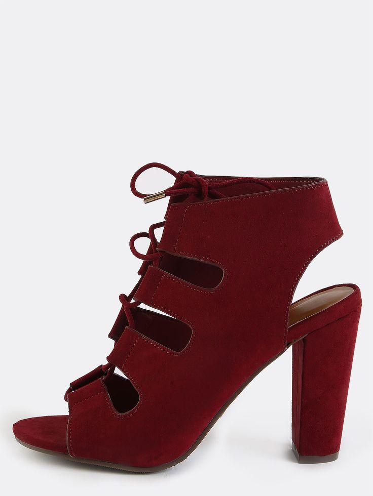 Open Toe Strappy Chunky Heels BURGUNDY | MakeMeChic.COM | Burgundy ...