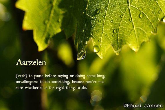 aarzelen, hesitation, green, nature, drop on leaf, botanic photo, photography, fine art, leaf photography, photo and word, Dutch, English.
