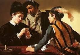 Image result for caravaggio card players