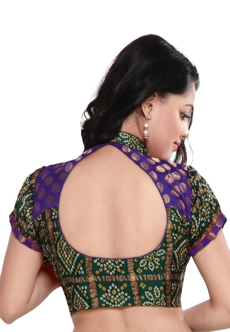 Red and Green Pure Raw Silk and Faux Crepe Bandhej Readymade Blouse: SLUJN191