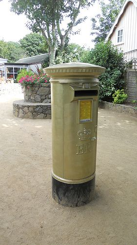 Sark's golden postbox, courtesy of Carl Hester's Olympic gold medal for dressage.