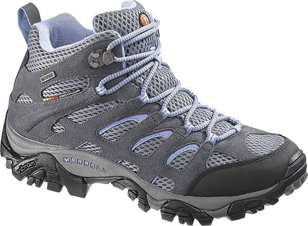 Merrell Moab Mid Waterproof Hiking Boots  Choose a ladies' hiking boot designed to fit the form of your foot with QForm Comfort from Merrell. The women's Moab Mid-Height Waterproof boot uses QForm Comfort to give you the stride alignment you need and is paired with the Merrell Air-Cushioned midsole for added comfort.
