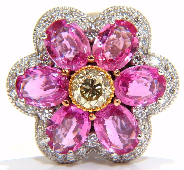 7.73ct. Natural Pink Sapphire & 1.60ct diamonds ring. 6 pristine vivid pink sapphires Full cut brilliant round supreme Clean clarity Transparent and vibrant top Bright gem Gem Fancy Intense pink color