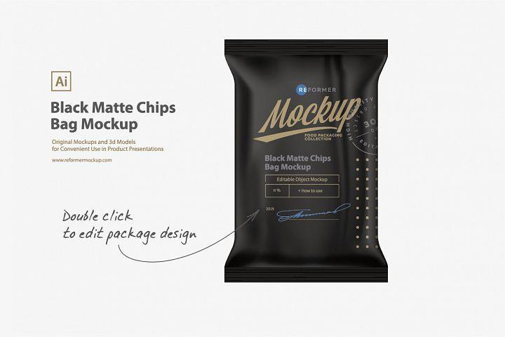 Download Black Matte Chips Bag Mockup 369133 Mockups Design Bundles Bag Mockup Mockup Design Chip Bag