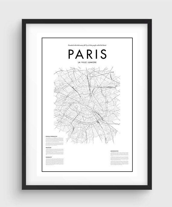 Minimal Paris Map Poster Black & White Minimal Print by PurePrint