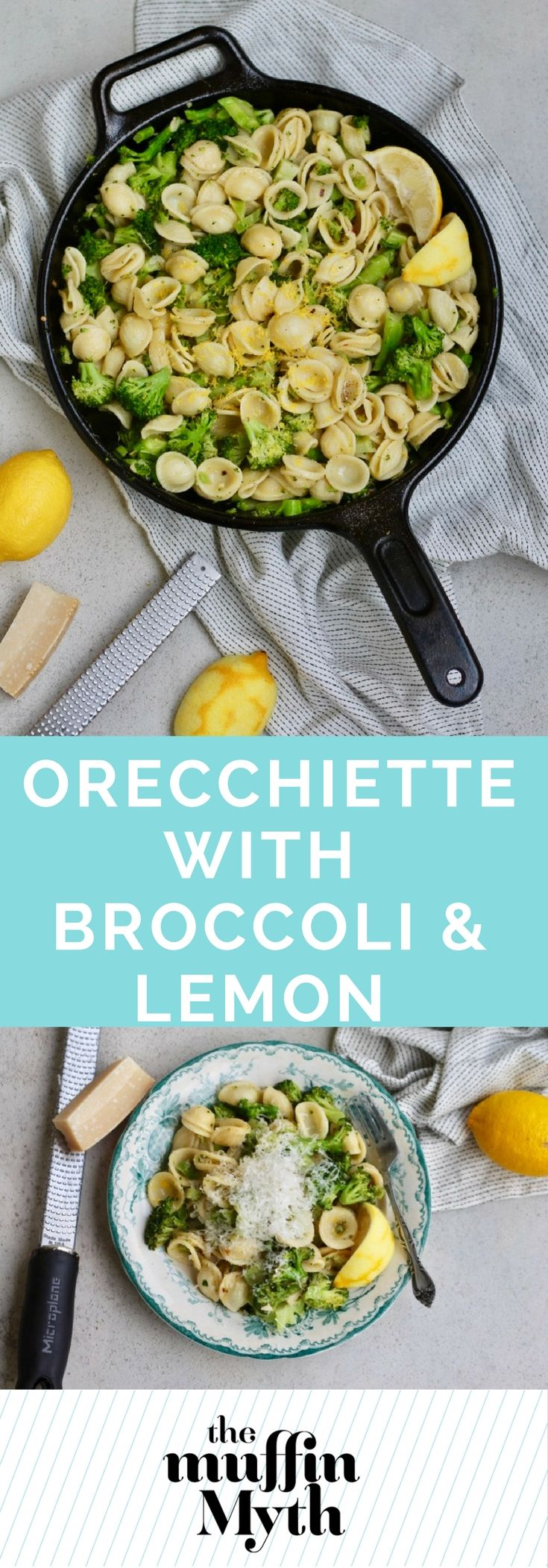 This quick and easy Orecchiette with Broccoli and Lemon is a perfect weeknight dinner. It's loaded with veggies, comes together in a flash, and is simple yet still sophisticated.  via @themuffinmyth