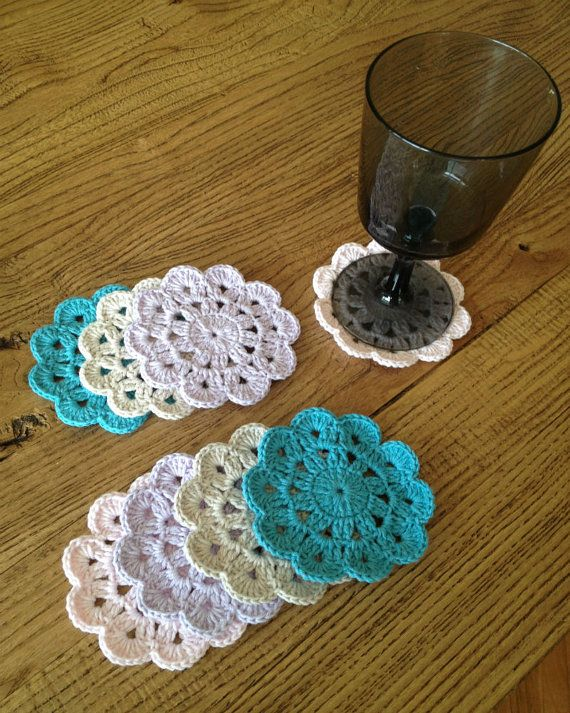 Set of 6 crochet coasters, Handmade coasters, coasters in pastel colors