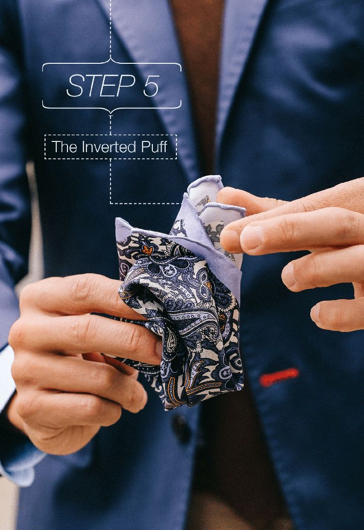 Step-5    Fancy, Dapper, Men, Smart, Blue Blazer, Ties, Pocket Squares, Tutorial, Folding, Sunglasses, Menswear, Mens Style, Fashion, Mens Fashion, Wardrobe, City Style, Close Up, RayBan, Belts, Close Up, @Spitz, GIF, Photography