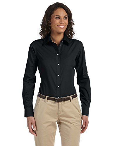 Chestnut Hill Women s Long Sleeve Executive Performance Broadcloth Button  Down Dress Shirt (CH600W) Black dcfaa892f