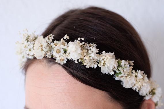 Flower wedding crown bride gently pink summer girl boho rustic