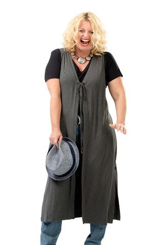 The Rhoda Retro Long Vest in Charcoal. Perfect for laying in fall. Sizes 12/14 and 16/18. Made in USA. On Sale Now at www.charlieagogo.com
