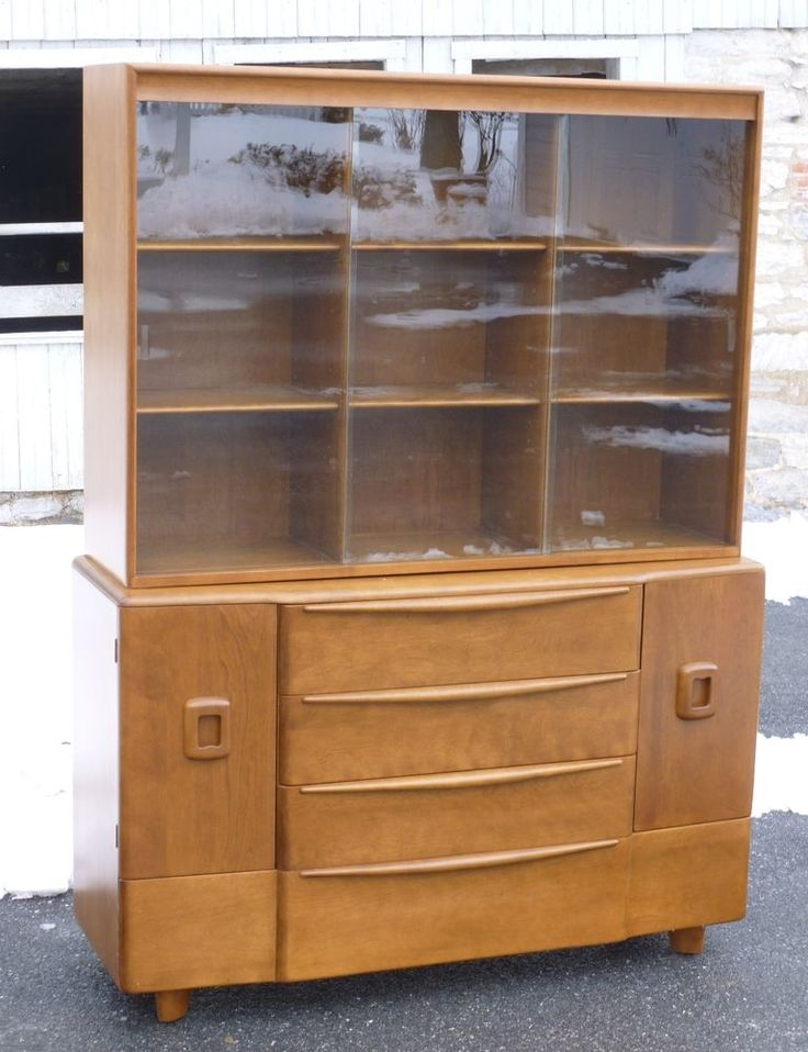 mid century retro modern furniture store rare heywood wakefield china cabinet large size superb condition nr