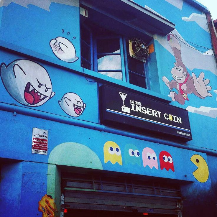 Video Game Wall Mural Painting At Insert Coin Bar In Chile