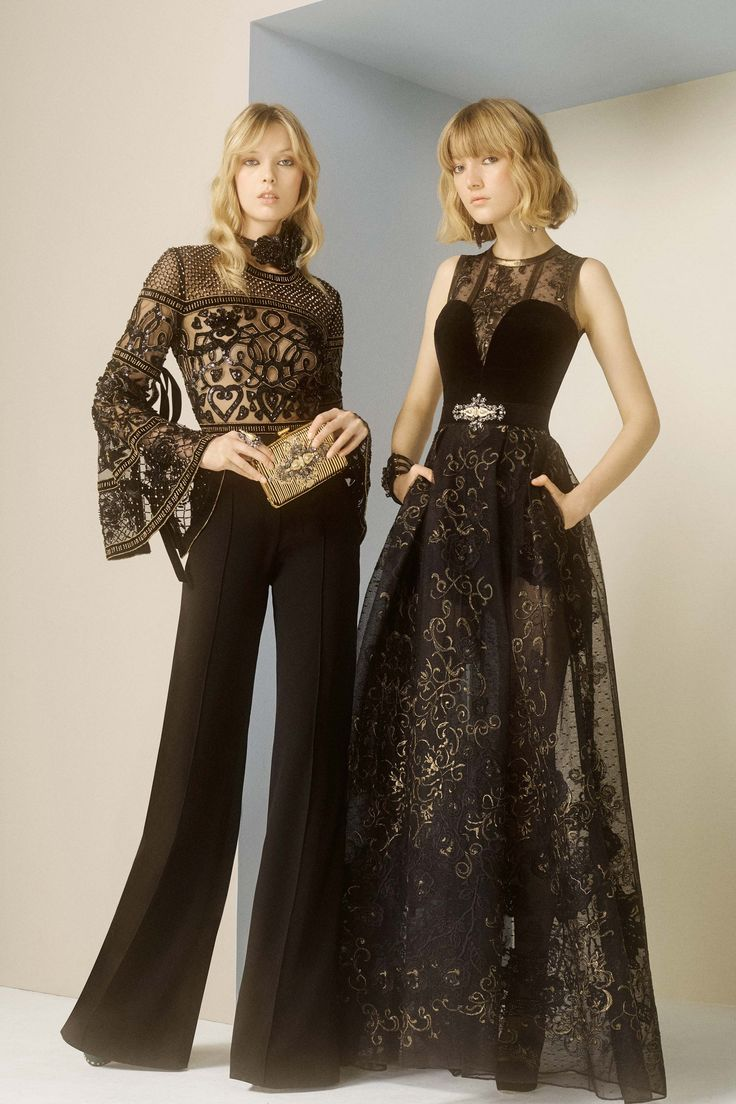 Elie Saab Pre Fall 2017: Fabulous separates and a gorgeous gown! I love the sheer lace blouse paired with the high waist black wide leg pants. The black sheer embroidered gown with the velvet bodice is edgy and exquisite!