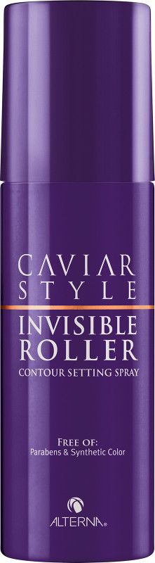 Experience the contour and lift of a roller set without the roller. Alterna Caviar Style Invisible Roller Contour Setting Spray is a medium hold setting spray that lifts from root to tip and molds hair into lush shapes, while providing heat protection and high shine.