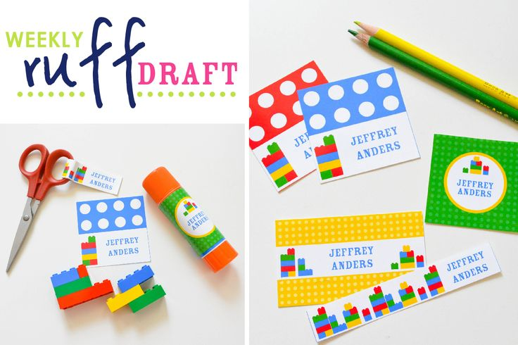 Personalized Building Brick Labels perfect for labeling school supplies for back to school organization! Type in your kids' name and print as many as you need! Girl and boy colors!