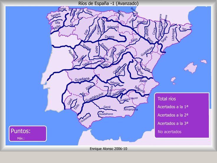 Mapa interactivo de España Ríos de España. ¿Dónde está? (Avanzado) - Mapas Flash Interactivos de Enrique Alonso