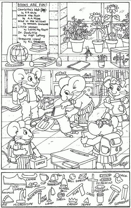 Hidden Pictures Coloring Page
