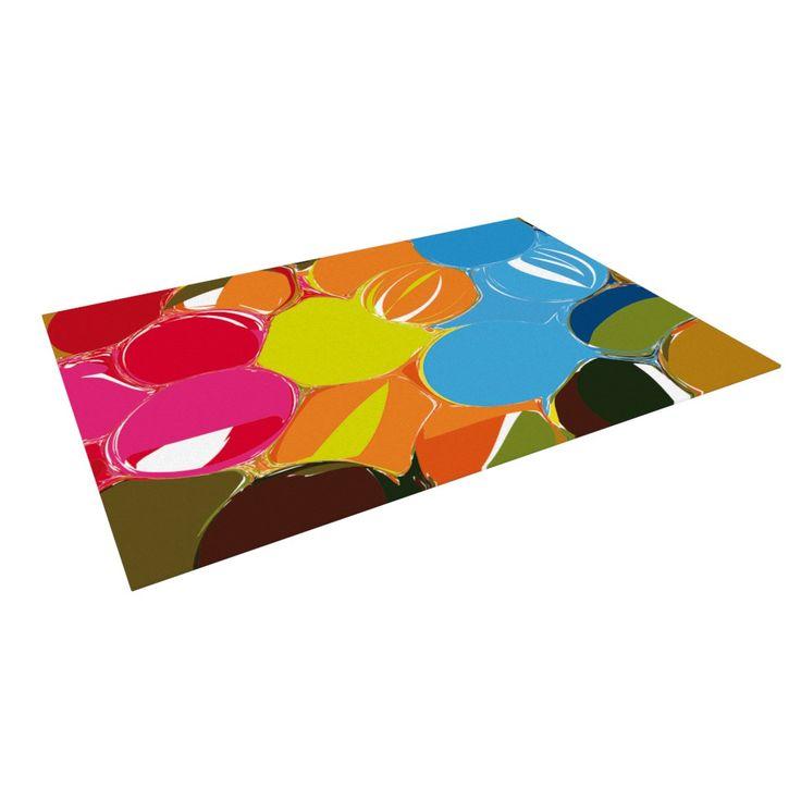 "Matthias Hennig ""Bubbles"" Rainbow Circles Indoor / Outdoor Floor Mat"