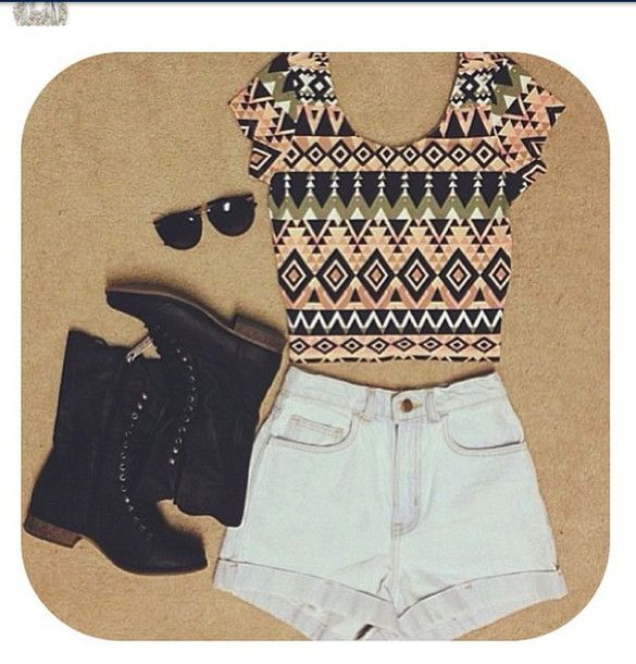 shirt crop tops indie high waisted shorts aztec shorts shoes tank top top sunglasses