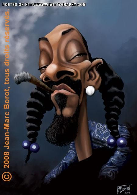 Snoop Lion - this isn't even a caricature! He seriously looks like this in person! I do love him though~