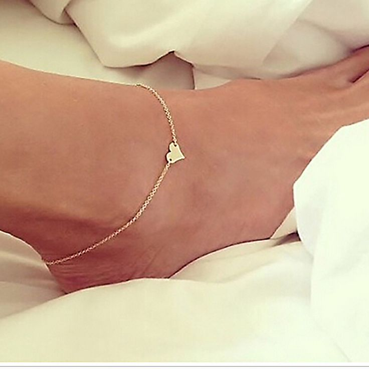 2016 new Silver Gold Plated anklet / Bracelet On The Leg Heart Ankle / Beach chain Barefoot Jewelry + Chain on leg SmsAliexpress #smsaliexpress